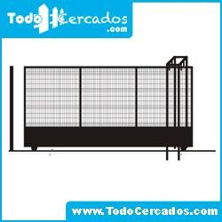 Puerta corredera vehicular electrosoldada plegada 5 X 2 m. Con zócalo