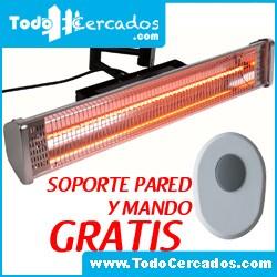 Estufa Electrica Patio Jardin 1500W con mando y soporte GRATIS